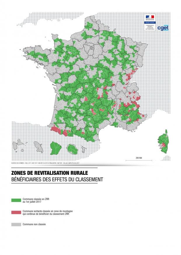 Carte zone zrr 2017